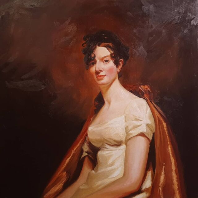 A better photo of this masyer copy of Henry Raeburn.  It's done.  Im not sure how you sign a master copy?  Do I include his signature, or my Instagram account name? . . . This looks like it would have been a noisy dress.  Swish swash swish swash. . . . . . #henryraeburn #mastercopy #oilpaintings #sfartist #portraitoftheday #drawingoftheday #paintingoftheday #artist #arte #realism #portrait_vision #fineart #art #oilonpanel #wip #prideandprejudice #autumncolors #figurativeart #portraiture #oldmasters #mastercopy