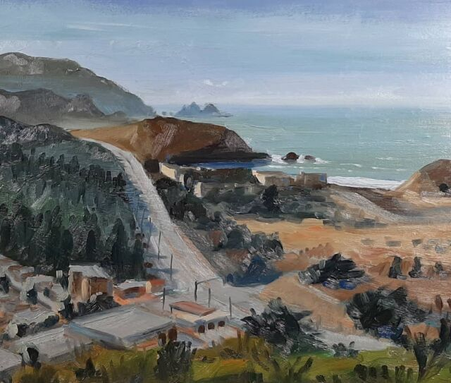Today's pleinair painting above Pacifica.  This was tough.  I may scrape it off, but will probably try to finesse another layer on in toncorrect values. Oil on panel.  . . . . . . #oceanart #art #sfart #landscapepainting #seascape #arte #oil #oiloncanvas #oilpainting #waveart #sketch #instaartistic #instagood #picture #gallery #realism #pleinair #landscape #pacific #ocean #fineart #oilpaintings #artistsoninstagram #scenic #budowski