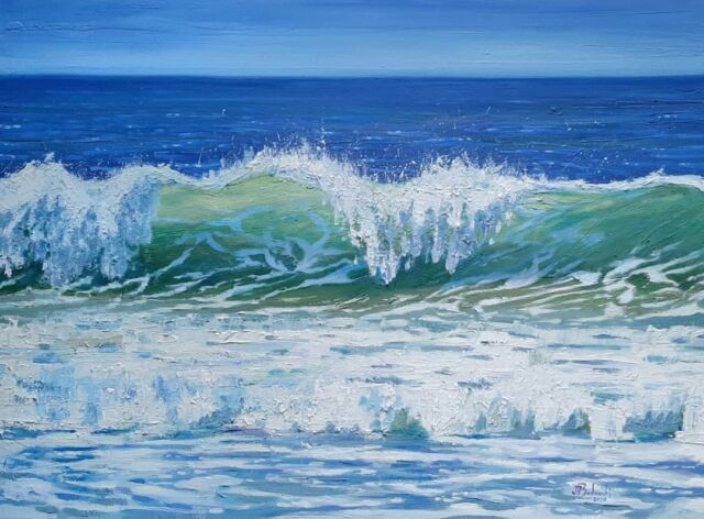 Recent completed wave. 24x18 inches.  . . . .  . . #oil #oilpainting #paintingoftheday #sfartist #painting #fineart #realism #expressionism #pacific #surf #oceanart #surfart #galleryart #draw #sketch #contemporarypainter #art #visualart #instagood #instaartist #arte #waveart #wavepainting #drawing #budowski