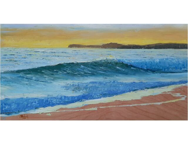 Wave at sunset. Oil paints on wood panel.  18 inches wide. This was done with a palette knife.  . . . . #art #oilonpanel #oilpainting #oceanart #wavepainting #sunset #halfmoonbay #painter #painting #paletteknifepainting #impastopainting #picture #arte #budowski #visualart