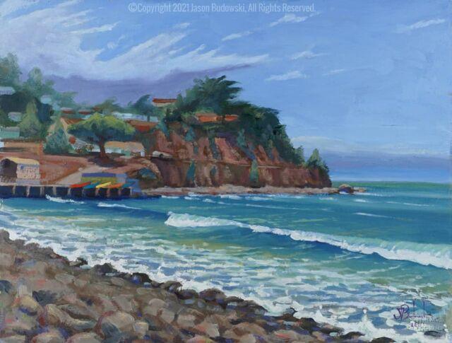 Linda Mar Beach. Oil on panel. 11x14 inches . . . . . . #oceanart #art #sfart #landscapepainting #seascape #arte #oilonpanel #oilpainting #waveart #hiddenbeach #sketch #instaartistic #instagood #picture #gallery #realism #pleinair #landscape #pacific #ocean #fineart #oilpaintings #artistsoninstagram #scenic #budowski #sfvisualartist #lindamar #pleinairpainting #pleinair
