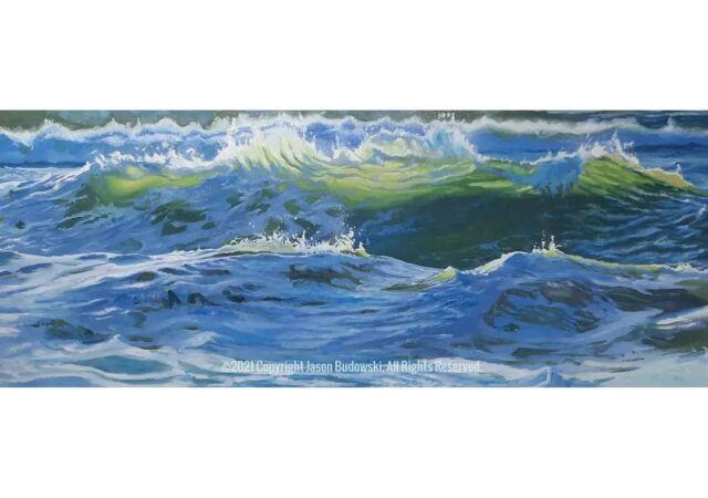 Captured light.  33x13 inches. Oil on panel. . . . . . . . . #oil #oilpainting #paintingoftheday #sfartist #painting #fineart #realism #expressionism #pacific #surf #oceanart #surfart #galleryart #draw #sketch #contemporarypainter #art #visualart #instagood #instaartist #arte #waveart #wavepainting #drawing #budowski #bayareaartschool #bayareaartist #oceanart